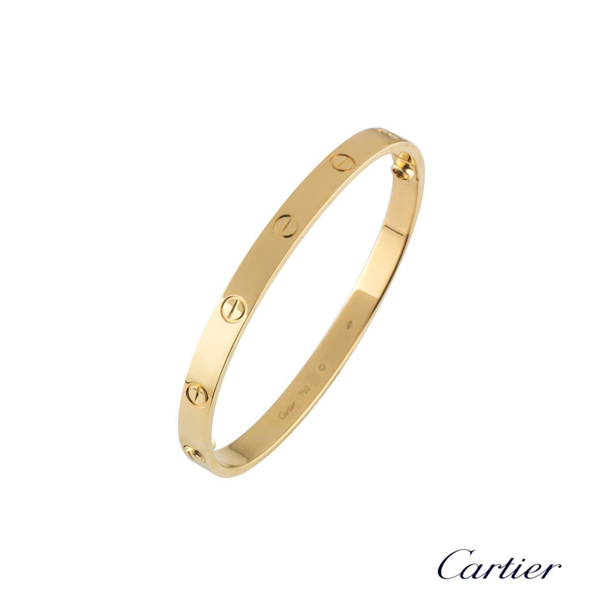Cartier Yellow Gold Plain Love Bracelet Size 18 B6035518